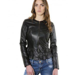 Black Color Nappa Lamb Leather Jacket With Flounces