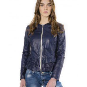 Blue Color Lamb Leather Jacket With Flounces