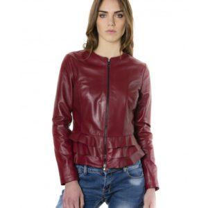 Bordeaux Color Nappa Lamb Leather Jacket With Flounces