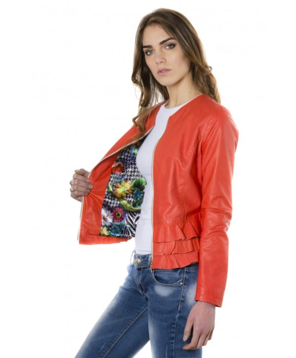 Coral Color Lamb Leather Jacket With Flounces