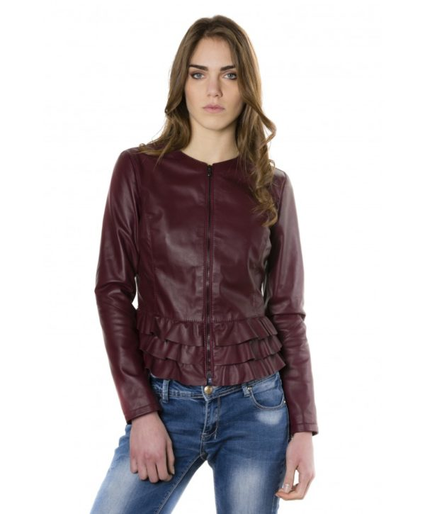 Red Purple Color Nappa Lamb Leather Jacket With Flounces