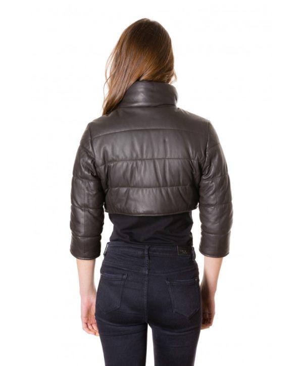Dark Brown Colour Nappa Lamb Short Leather Jacket Smooth Aspect