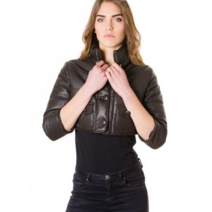 Dark Brown Colour Nappa Lamb Short Leather Jacket Smooth Aspect