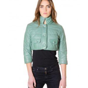 Green Colour Nappa Lamb Short Leather Jacket Smooth Aspect