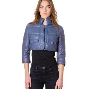 Light Blue Colour Nappa Lamb Short Leather Jacket Smooth Aspect