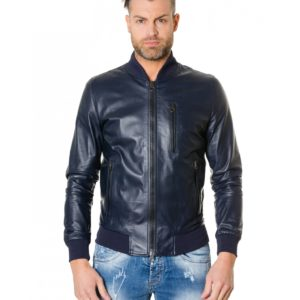 Blue Colour - Leather Bomber Jacket Smooth Aspect
