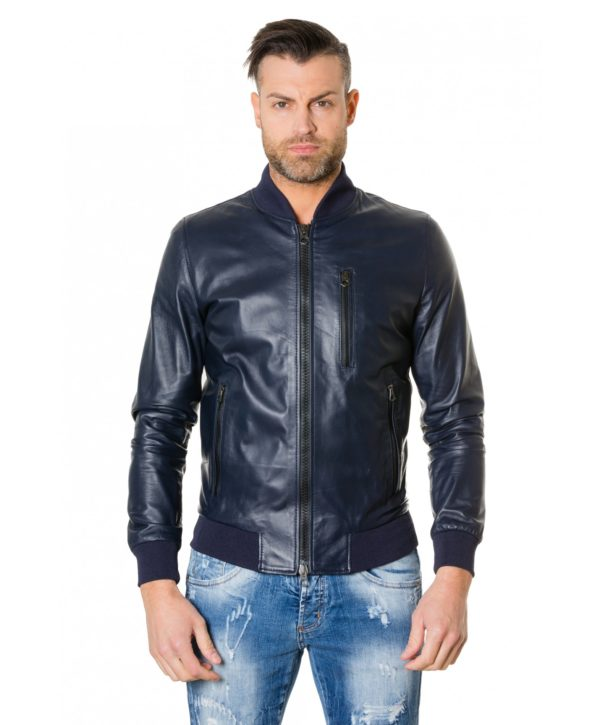 Blue Colour – Leather Bomber Jacket Smooth Aspect