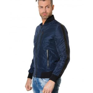 Blue Navy Colour Fabric Bomber Jacket With Leather inserts