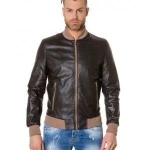 Brown Colour Leather Bomber Jacket Smooth Aspect