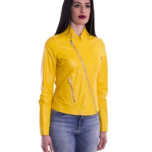 Yellow Nappa Lamb Women Leather Jacket