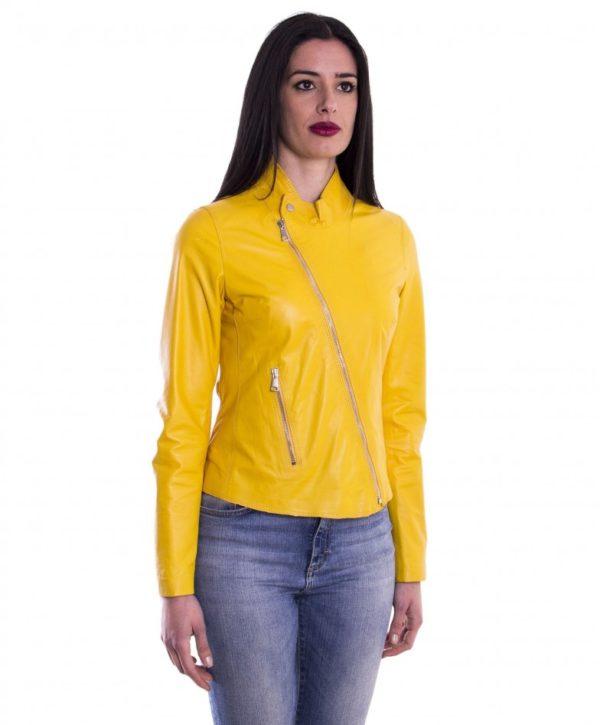 Yellow Nappa Lamb Women Leather Jacket
