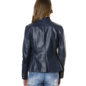 Blue Color Nappa Lamb Leather Jacket Smooth Effect