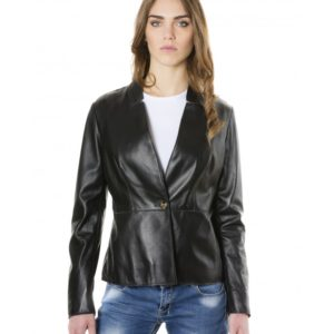 Black Color Nappa Lamb Leather Jacket Smooth Effect