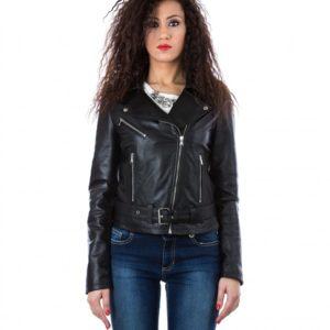 Black Color Nappa Lamb Leather Perfecto Biker Jacket Smooth
