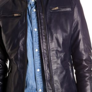 Blue Color Nappa Lamb Quilted Leather Jacket Smooth Effect