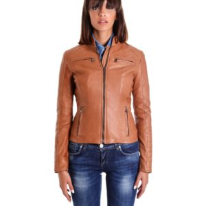 Tan Color Lamb Quilted Leather Jacket Bogotà Vintage Effect