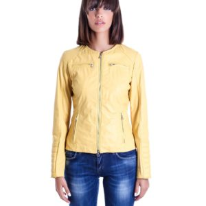 Yellow Color Nappa Lamb Quilted Leather Jacket Smooth Effect