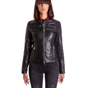 Black Color Nappa Lamb Quilted Leather Jacket Smooth Effect