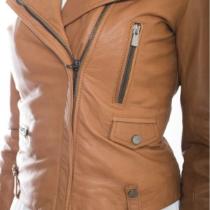 Tan Color Lamb leather Biker Jacket Smooth Effect