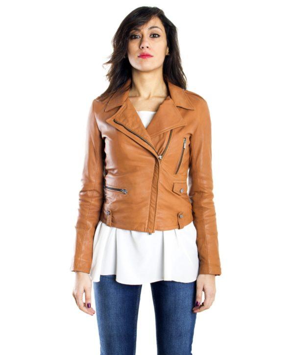 half off e6732 9c5ba BARBARA - Tan Color - Lamb leather Biker Jacket Smooth ...
