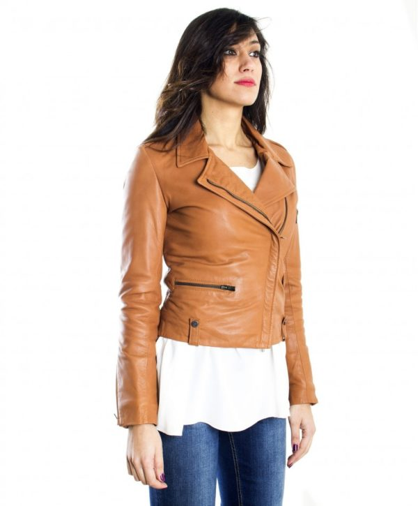 Tan Color Lamb leather Biker Jacket Smooth Effect