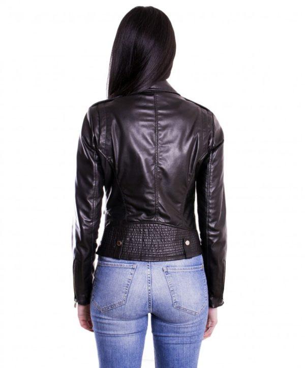 Black Color Lamb Leather Biker Jacket Smooth Effect