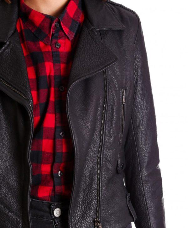 Black Color Calf Leather Biker Jacket Wizened Effect