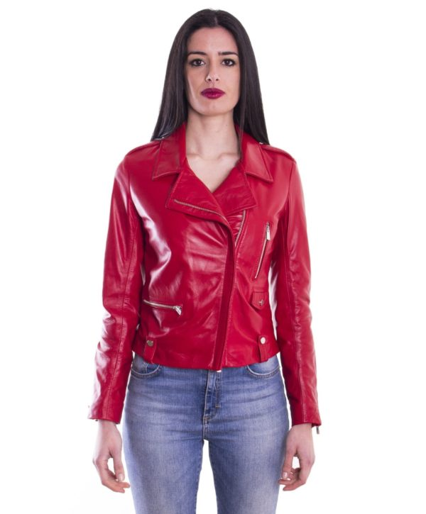 Red Color Lamb Leather Biker Jacket Smooth Effect
