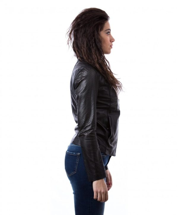 Black Color Nappa Lamb Perforated Leather Short Jacket Smooth Effect