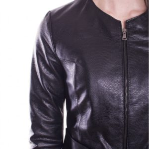 Black Color Nappa Lamb Leather Short Jacket Crocodile Effect