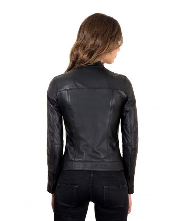 Black Color Leather Jacket Biker Nappa Lamb Smooth Effect