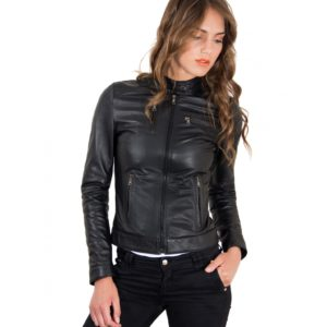 Black Color Leather Jacket Biker Nappa Lamb Smooth Effect