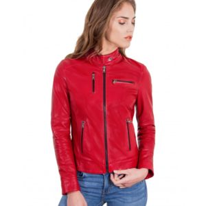 Red Color Leather Jacket Biker Nappa Lamb Smooth Effect