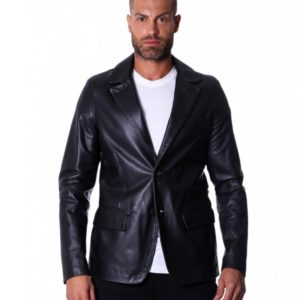 Black Lamb Leather Blazer Jacket Two Buttons