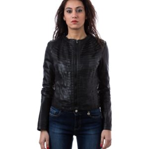 Black Color Nappa Lamb Leather Rouches Jacket Smooth Effect