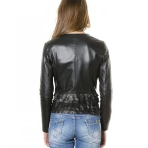 Black Color - Nappa Lamb Leather Rouches Jacket Smooth Effect
