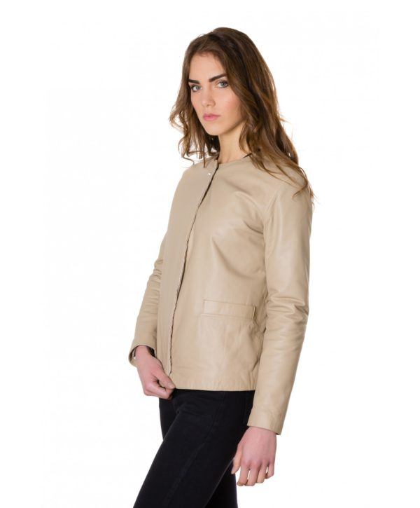 Cream Color Nappa Lamb Leather Jacket Smooth Effect