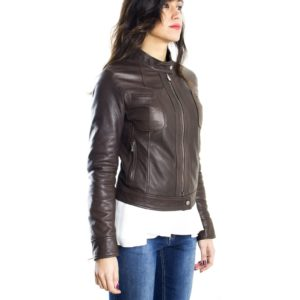 Dark Brown Color Nappa Lamb Leather Jacket Smooth Effect
