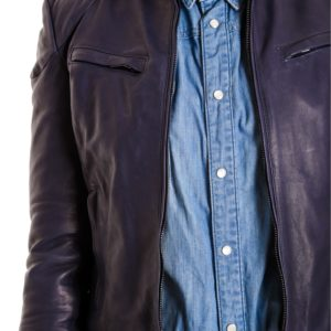 Blue Color Lamb Leather Biker Jacket Bogotà Vintage Effect