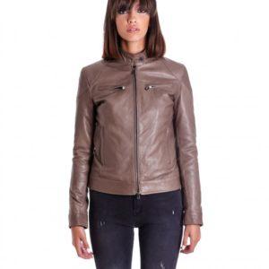 Grey Color Lamb Leather Biker Jacket Bogotà Vintage Effect