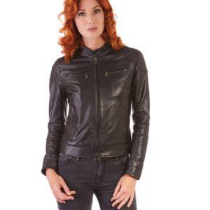 Black Color Nappa Lamb Leather Biker Jacket Smooth Effect