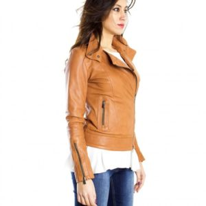 Tan Color Nappa Lamb Leather Biker Jacket Smooth Effect