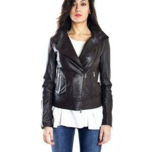 Brown Color Nappa Lamb Leather Biker Jacket Smooth Effect