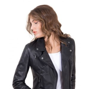 Black Color Lamb Leather Perfecto Jacket Smooth Effect