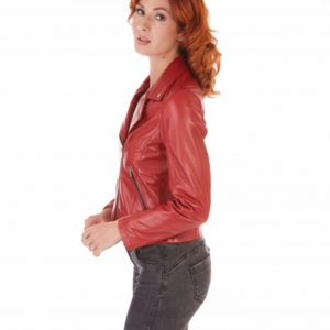 Red Color Lamb Leather Perfecto Jacket Smooth Effect