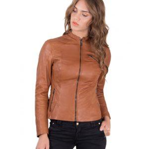 Tan Color Lamb Leather Quilted Biker Jacket Vintage Effect