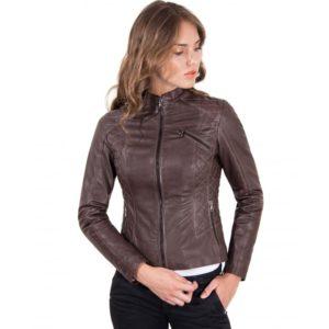 Brown Color Lamb Leather Quilted Biker Jacket Vintage Effect