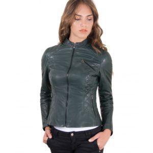 Green Color Lamb Leather Quilted Biker Jacket Vintage Effect