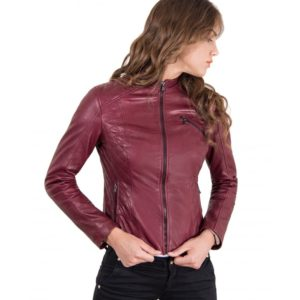 Red Color Lamb Leather Quilted Biker Jacket Smooth Effect