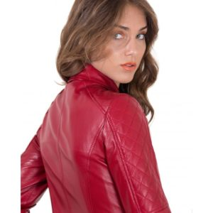 Red Color Lamb Leather Quilted Jacket Soft Nappa Smooth Effect